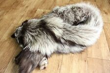 Real Fox full body Fur Stole Shawl Collar Wrap with tail PREMIUM SILVER FOX
