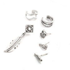 6Pc/Set Retro Silver Carven Feather/Owl Earring Tiny Ear Stud/Clip Jewelry Gift