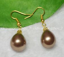 Natural 12x16mm Brown South Sea Drop Shell Pearl Dangle Gold Plated Hook Earring