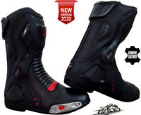 MENS RED / BLACK SPEED MAXX MOTORBIKE MOTORCYCLE CE RACING LEATHER SHOES BOOTS