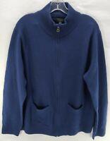 J.CREW Men's 100% MERINO WOOL Navy Blue Cardigan Jacket Full Zip Up Size L