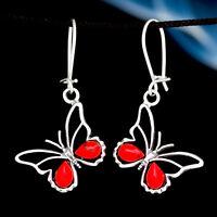 Koralle Silber 925 Ohrringe Damen Schmuck Sterlingsilber H0356