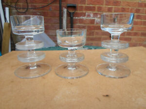 Vintage Wedgwood Clear Glass Sheringham Disc Candlestick Holders x 3