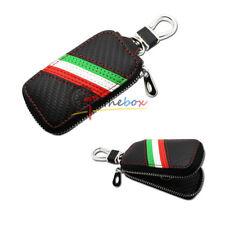 Carbon Fiber Italian Flag Stripe Pattern Leather Car Remote Key Fob Holder Cover