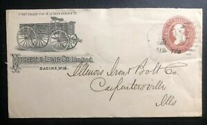 1887 Racine WI USA Advertising Stationary Cover To Carpentersville IL