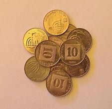 Lot 10 Israeli Coins, 10 Agorot Israel Money Official Golden Color Agora Menorah