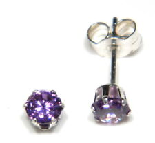Sterling silver stud earrings 4mm CZ amethyst coloured solitaires