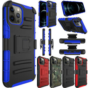 For iPhone 12/Pro/Max/Mini 5G Case Shockproof TPU Holster Belt Clip Stand Cover