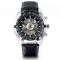 New Men's Boy Skeleton Auto Mechanical Watch Black Leather Band Wrist Watches
