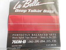 La cinta de nylon Bella 760N-B Negro herida 5 Cuerdas Bajo Guitarra, cuerdas de .60 - .135