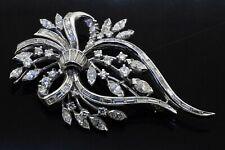 Heavy Platinum 7.12CT VS diamond flower leaf large sized brooch
