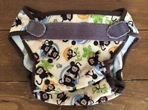 Used Blueberry Diaper Cover Shell Hook and Loop Adjustable Unisex Monkeys