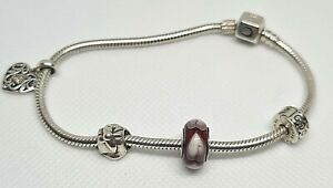 "Chamilia Sterling Silver Snap Fastening Bracelet 8""/ 3 Charms"