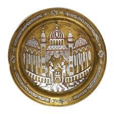 ISLAMIC DAMASCENE Brass SILVER INLAID TRAY CAIROWARE c1910 MOSQUE SCENE