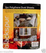 2 LARGE POLYTHENE PLASTIC DIY DUST SHEET COVER 3.6M X 2.7M DECORATING PAINTING