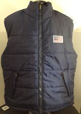 KAD Clothing Co. Reversible Blue Puffer Vest Men Size XL American Flag Patch