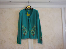 NWT OILILY WOMENS EMBROIDERED  FLORAL WOOL CARDIGAN SWEATER M GREEN
