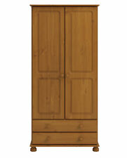 2 DOOR 2 DRAWER SOLID PINE WARDROBE