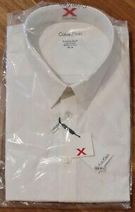 Calvin Klein Dress Work Shirt Extreme Slim Fit Cotton Size 46cm Sleeve 92 White