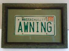 """Massachusetts Vanity License Plate """"Awning"""" Framed Art Decor 1984 19""""x13"""" Wall"""