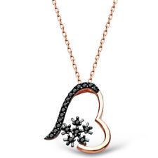 AQILA Damen Halskette Kette Schneeflocke Herz Zirkonia 925 Silber schwarz rose