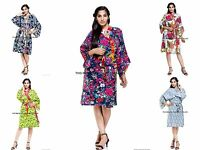 Indian Floral Printed Cotton Night Gown Women Bath Robe Kimono New Sleepwear