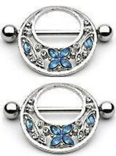 Nipple Ring Bars Butterfly Flower Body Jewelry Pair 14g Gauge [Jewelry]