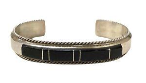 Navajo Handmade Onyx Inlay Sterling Silver Cuff Bracelet - Fran Yazzie