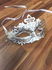Venetian Masquerade Mask Filigree White Silver Metal Diamante Ball Prom