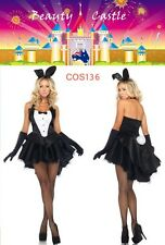 Cute Sexy Fancy Tux & Tails Bunny Rabbit Costume Halloween Party Dress COS136
