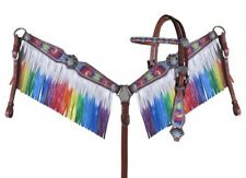 WESTERN HORSE BLING RAINBOW TIE DYE LEATHER BRIDLE FRINGE BREAST COLLAR TACK SET