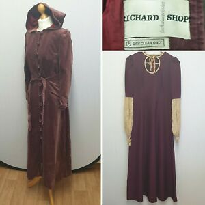 RICHARD SHOPS BURGUNDY TWO PIECE CLOAK & DRESS SIZE 14 MEDIEVAL FANCY DRESS UP