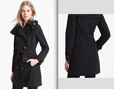 Burberry Brit Balmoral Black Hooded Double Breasted Trench Coat & Wool Liner!!!