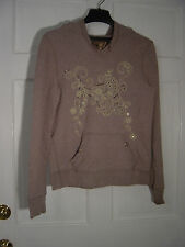"WOMEN'S ""OLD NAVY"" TAN SEQUINED PULLOVER HOODED SWEATSHIRT SZ  XL  48"" CHEST"