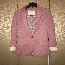 Anthropologie Cartonnier Pink Marble Cotton Candy Jacket Blazer Small S