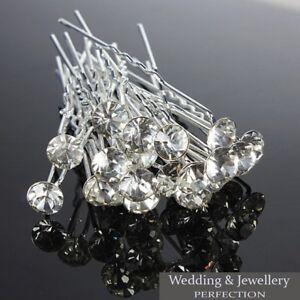 New Round Wedding Hair Pins Bridesmaid Crystal Diamante Bridal Hair Clips Grips