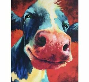 DIY Cow Face Diamond Painting Designs Cute Animal Embroidery House Wall Portrait