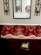 "WAVERLY VALANCE RED BEIGE FLORAL ROSE VINTAGE COUNTRY HOUSE TOILE 50"" W By 18"" L"