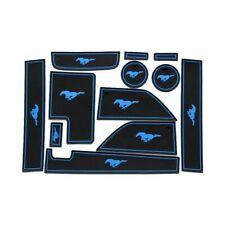 Fits Ford Mustang GT 2015-19 Blue Rubber Non-Slip Gate Slot Mats/Cup Holder Pads