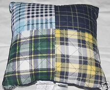 Home Classics Blue Green Plaid Accent Throw Pillow 16x16 nwot