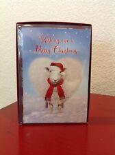 10 CHRISTMAS LEANIN TREE Cards & Envelopes Box Set Lamb Snow Scarf ~NEW~ CUTE