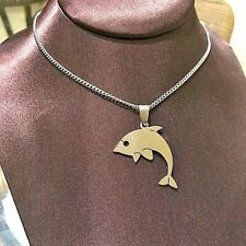 Dolphin Necklace Stainless Steel Pendant Silver
