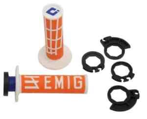 ODI Emig Racing V2 Lock-On Grips, Orange/White H36EMOW