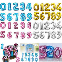 "Pink/Blue/Gold/Silver 16/32""/40"" 0-9 Number Foil Balloons Wedding Birthday Party"