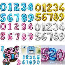 """Gold Silver Pink Blue 0-9 Foil Balloon 16"""" 32""""40"""" Numbers Birthday Party Wedding"""