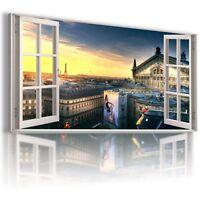 FRANCE PARIS EIFFEL TOWER 3D Window View Canvas Wall Art Picture  W401 MATAGA