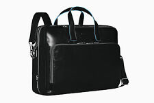 Piquadro Blue Square Black Expandable Briefcase/casual Office Bag Ca1560b2/n