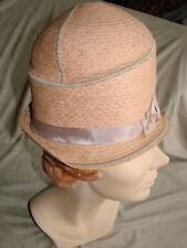 "Vintage 20s Hat Cloche PINK Straw XS FLAPPER 20"" VGC Deco"