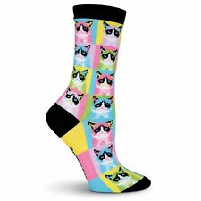 K.Bell Grumpy Cat Mosaic Pictures Blue pink Yellow green Faces Womans Socks New