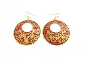 Fair Trade Earrings, Ethnic Bohemian Dusty Pink Metal Disk, Made in India